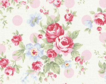 SALE Pink Polka Dot Roses 31265 20 by Lecien Fabrics Princess Rose Clearance