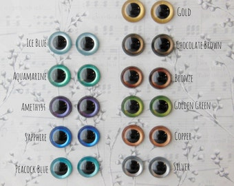 Metallic Hand Painted Animal Eyes - Your Choice of Size and Color - 12mm 15mm 18mm - 4 pairs Craft Safety Eyes