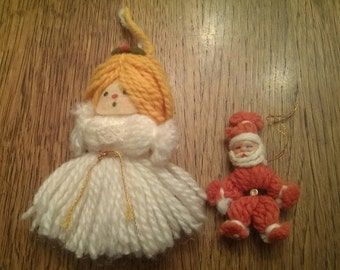 Vintage Yarn Doll Angel & Santa Ornaments