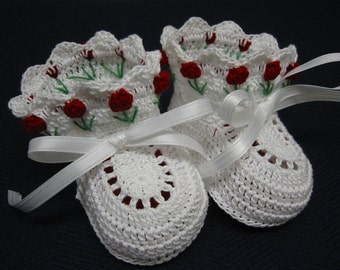 Crochet Booties Baby Girl Red Tulip Flowers Newborn or Reborn Doll
