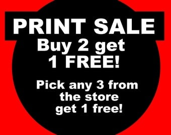 PRINT SPECIAL - Buy 2 get 1 FREE! 3 prints for 22 dollars + Shipping!