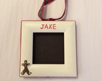 Gingerbread man picture frame ornament personalized with your choice of name