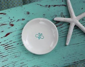 RESERVED Aqua Bumble Bee Design on Small Round Dish, Bee Ring Dish, Trinket Dish with Bumble Bee