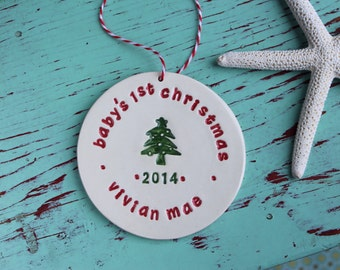 Baby's 1st Christmas Ornament, Custom Ornament with Date, Personalized Ornament with Baby Name and Year