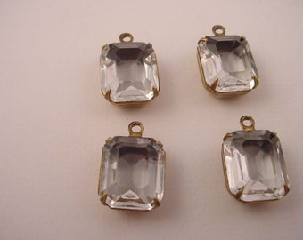 4 Vintage glass Crystal Faceted Octagon charms 12x10 1 Ring Open Back antique Brass ox Prong Settings