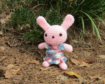 Pink Plush Bunny Rabbit with Dress, Pink Toy Bunny - Girl Bunny Doll - Plush Amigurumi Toy Rabbit - Ready-to-Ship