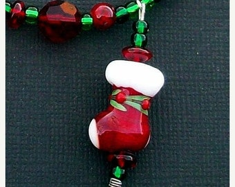 SUMMER SALE Super SALE! Christmas Holiday Necklace with Lampwork Glass, Silver and Cut Glass Beads