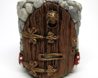 Fairy Door, Gnome Home Votive Cup/ Vase Polymer Clay over Glass