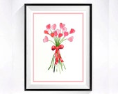 Bouquet Art - Watercolor Print - Valentines day / Mothers day / Baby shower gift / Pink hearts /  flower floral / Child's room pink