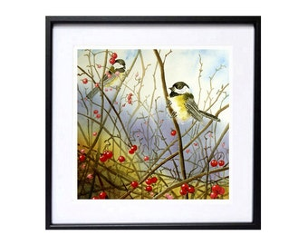 Chickadee Art Prints -  Small Bird Stormy landscape watercolor painting Song bird Wildlife Art animal art Blue painting Wall art 44