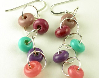 Sterling Silver Pink Purple Turquoise Lampwork Glass Dangle French Hook Earrings