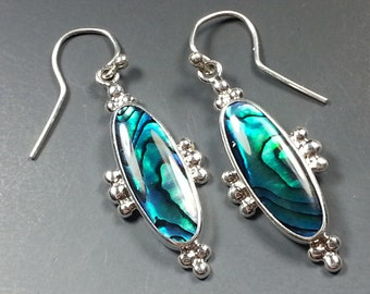 Pretty Paua Shell Earrings with Sterling Silver Settings