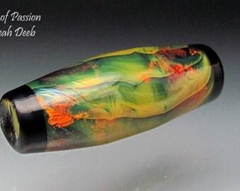 Glass Beads of Passion Leah Deeb Lampwork - Firey Organic Long Focal