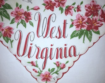 Vintage West Virginia State Handkerchief - Hanky Hankie