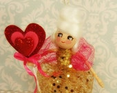 Marie Antoinette Valentine ornament pink red gold ooak art doll Marie Antoinette ornament vintage retro inspired toni Kelly original