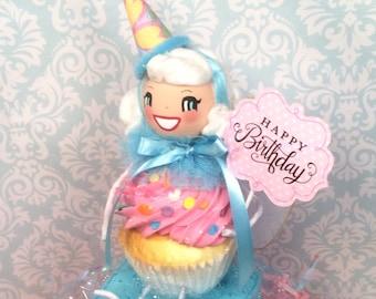 Happy Birthday party centerpiece pink abd blue birthday pixie cupcake fairy vintage retro inspired  birthday doll ooak art doll centerpiece
