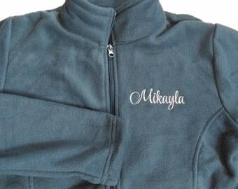 Embroidered monogrammed women's fleece jacket; personalized jacket;