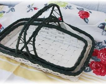 Vintage Wedding Garden Flower Baskets White Trimmed in Forest Green Home Decor Flower Girl, Maid of Honor   2 sizes