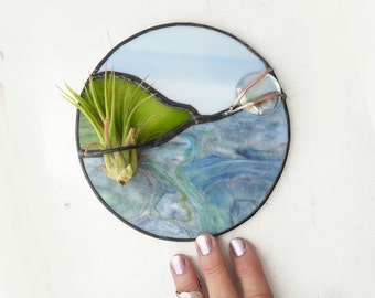 Round Stained glass Panel Air Plant Holder- Blue Valley