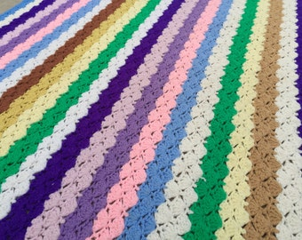 Vintage Hand Crochet Colorful Stripes Afghan/Lap Throw
