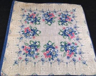 Vintage Blue, White and Pink Floral Print Ladies' Hankie/Handkerchief