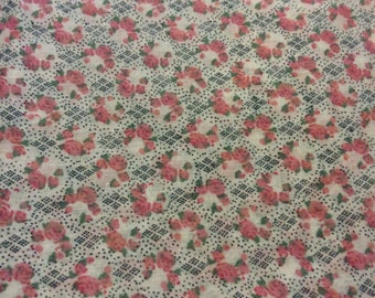 2 2/3 Yards of Vintage White with Pink Roses Cotton Fabric