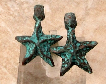 Greek Starfish Pendant with Bail, Green Patina, 22 mm, 2 Pieces M488