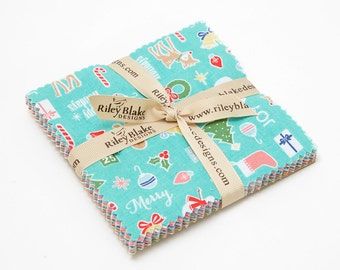 "SALE 5"" inch squares COZY CHRISTMAS charm pack fabric by Riley Blake by Lori Holt"