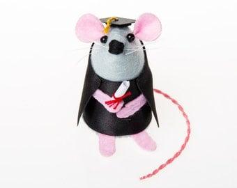 Graduation Mouse Ornament Artisan felt rat hamster mice cute gift for graduation gift for girlfriend boyfriend student graduate Theodore