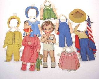 Vintage Paper Dolls Cute Little Girl and 10 Outfits Queen Holden