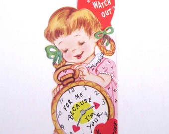 Vintage Unused Valentine Greeting Card with Cute Little Girl in Pigtails and Pocket Watch Clock Time