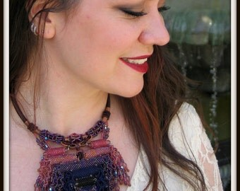 CLEARANCE Taos Sunset Necklace - Glass and Crystal Bead Woven Necklace. EBW TEAM