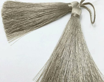 4 Pieces of Long Silk Tassel  - Number 107 Taupe Gray