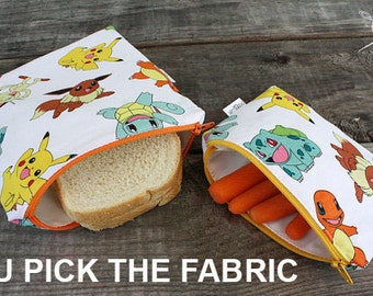 Reusable Sandwich Bag and Snack Bag CUSTOM You Pick The Fabric Set of 2