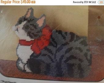 "HUGE SALE Bucilla Pre-Cut Plastic Canvas Needlepoint Kit ""Purrfect"" Doorstop 9.5"" X 8.25"" Gray Feline, Kitty Cat Kit #5805"