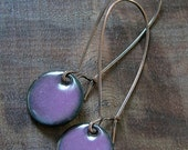 Purple Dangle Earrings, Copper Enamel Jewelry, Nickel Free Kidney Earwires, Aubergine, Handmade Earrings
