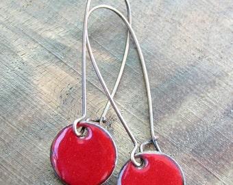 SALE Everyday earrings Red Copper Enamel Earrings nickel free copper kidney wire