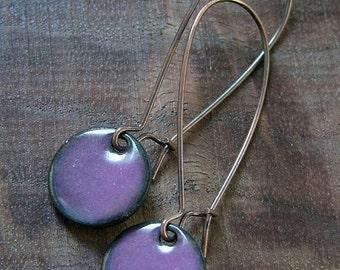 Purple Dangle Earrings, Copper Enamel Jewelry, Nickel Free Kidney Earwires, Aubergine, Handmade Earrings
