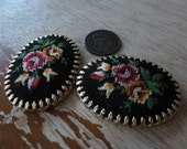 1 Vintage Embroidered Flower Floral Fabric Cameo C38