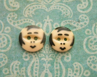 2 Vintage Flapper Face Buttons Novelty Buttons