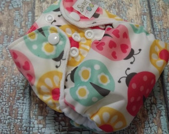 Newborn AI2 Cloth Diaper Natural Cotton Ladybugs Made to Order