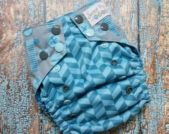 One Size AI2 Cloth Diaper Cover Nuts and Bolts with Herringbone Gray and Aqua