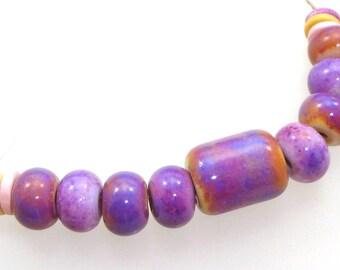 Handmade Lampwork Glass Bead - Hampton! 9 bead set. Purple Rose blushing on opal yellow & pink, small barrel foacl bead, 4 earring pairs.