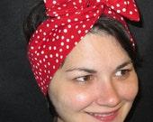 FREE SHIP USA White Dots on Red  Wired Headband Dolly Tie Rockabilly Twist Headband Stocking StufferFashion Headband Pin Up Headband