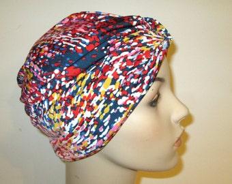 FREE SHIP USA Fireworks Print   Stretch Turban, Chemo Hat, Cancer Turban, Womens Hat