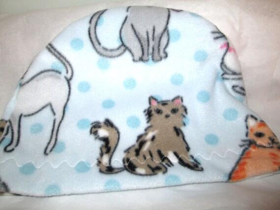 Kids Child Cancer, Chemo Hat Cats Print  Anti Pill Fleece, Play, Sleep Cap