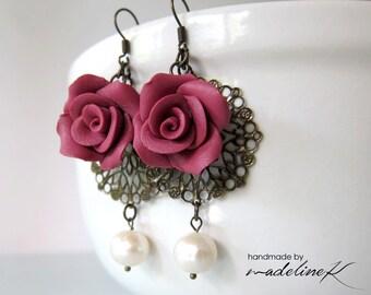 Dusty Pink Rose Filigree Earrings, Pink Rose Pearl Earrings, Polymer Clay Rose Earrings, Pink Pearl Flower Earrings, Pink Flower Jewelry