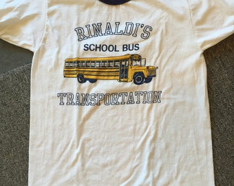 Vintage Rinaldi's School Bus Transportation tshirt with bus ringer tee small size