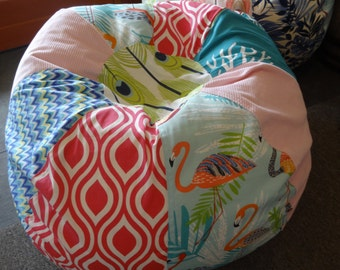 NEW Surfer Girl multi print bean bag with flamingos, pink geometric, blue prints and light pink corduroy
