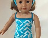 SALE Teal and White Swimsuit 18 inch Doll Clothes